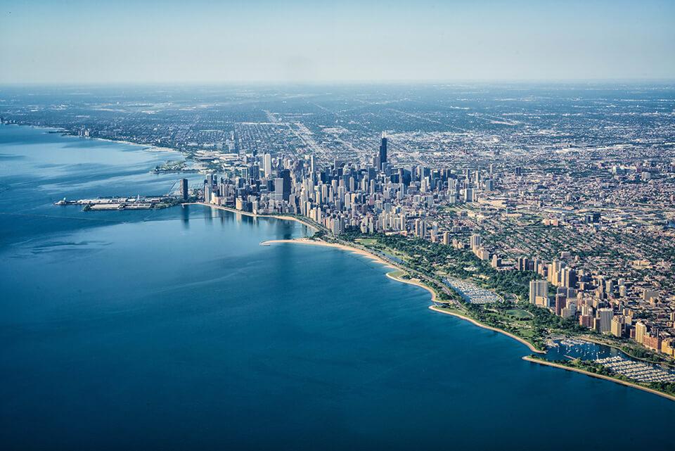 Plane view of the coast of Lake Michigan