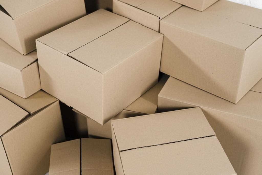A pile of empty carton packages