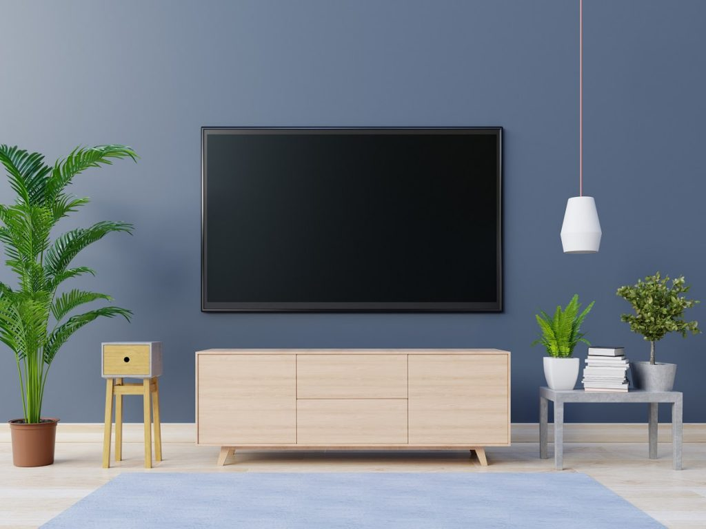 TV hanging on a blue wall, shelf below it, and plants on both of its sides