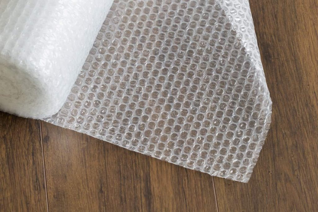 Bubble packaging on the wooden table